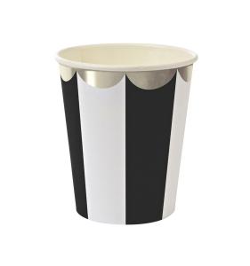 bicchiere carta righe bianche nere