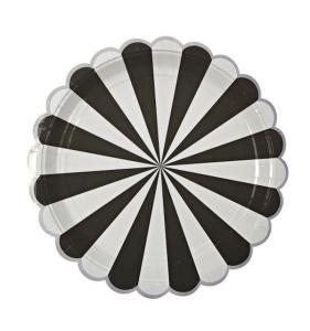 piatti righe bianche nere