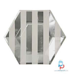 piatti righe bianche argento